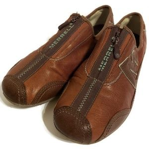 Merrell Men's Cognac/Dark Brown Leather Shoes